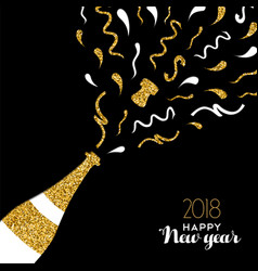 Happy new year 2018 gold glitter party drink card vector