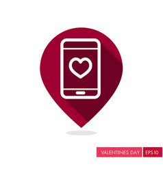 Heart smartphone pin map icon telephone call vector