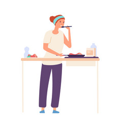 Housewife on kitchen woman cooking flat girl vector