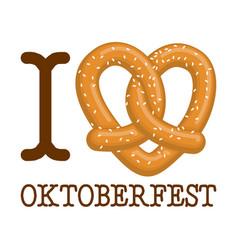 I love oktoberfest pretzel heart food lover sign vector
