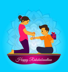 In poster sister banded rakhi to brothers vector
