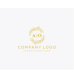 Initial ao letters floral frames monogram wedding vector