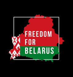inscription freedom for belarus against map vector image