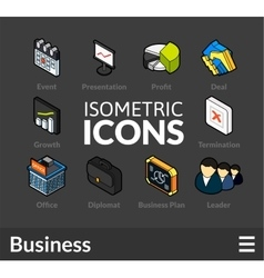 Isometric outline icons set 42 vector image