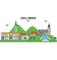 italy trento city skyline architecture vector image