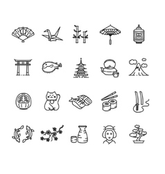 Japan Icon Black Outline Set vector image