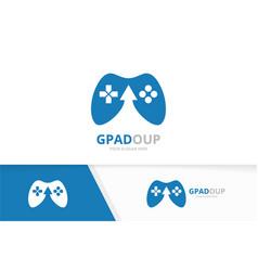 joystick and arrow up logo combination vector image