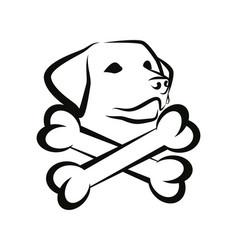 Labrador dog with crested bones - black badge vector