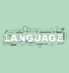 language word for education with icons flat design vector image