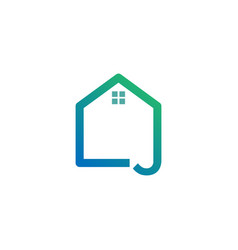 Letter j architect home construction creative vector