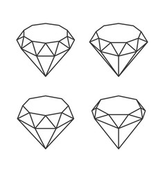 line style diamond crystal set on white background vector image