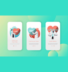 Medical cardiology health care mobile app page vector