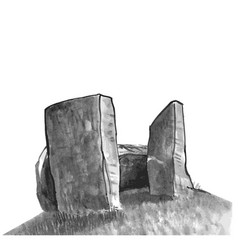 Menhir neolithic isolated watercolor vector