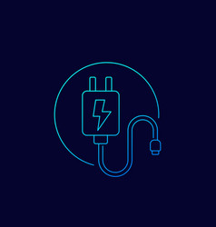 Mobile charger linear icon vector