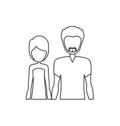 monochrome contour half body with man with beard vector image