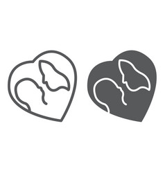 mother and baby line and glyph icon love and vector image