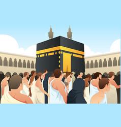 Muslim pilgrims walking around kaaba in mecca vector