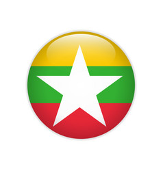 Myanmar flag on button vector