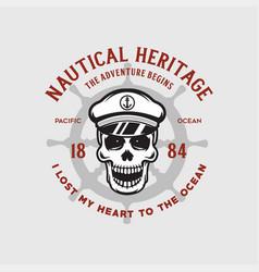 nautical t shirt print with steering wheel skull vector image