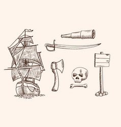 Old pirate ship vector