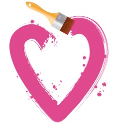 paintbrush pink heart vector image