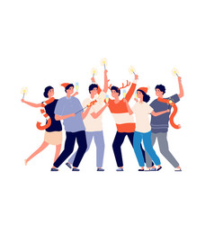 people with sparklers friend night party vector image