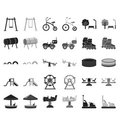 playground entertainment blackmonochrome icons vector image