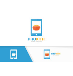 Pot and phone logo combination kitchen and vector