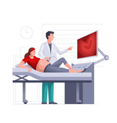 Pregnant woman getting ultrasound scan from vector