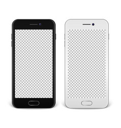 realistic smartphone icon set - black and white vector image