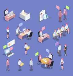 recruitment isometric people set vector image