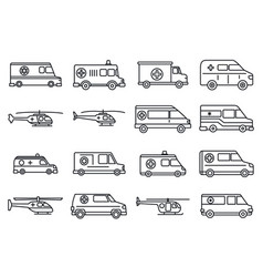 rescue ambulance icons set outline style vector image