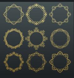 round calligraphy golden frames vector image