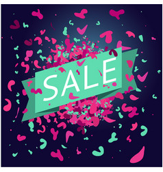sale banner with paint splach and particle vector image