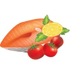 salmon dish vector image