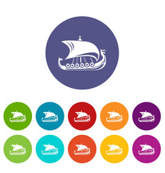 scandinavian ship icon simple style vector image