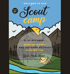 scout camp flyer a4 format camping adventure vector image