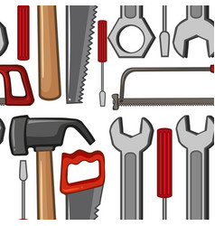 Seamless background with handtools vector