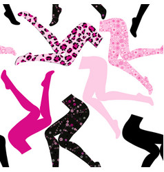 Seamless pattern with womens legs in colored vector