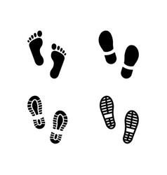 Set glyph icons footsteps vector