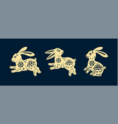 set isolated rabbits in paper cutting style vector image