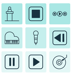 Set of 9 multimedia icons includes stop button vector