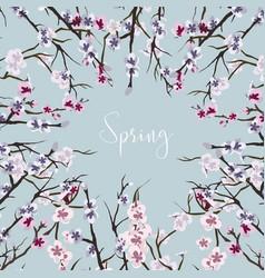 set of sakura japan cherry vector image