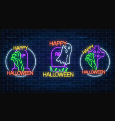 Set of three halloween in neon style bony hand vector