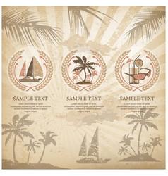set of travel symbols vintage vector image