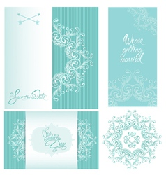 Set of Wedding invitation cards with floral elemen vector image