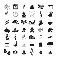 set of winter icons holiday christmas and new year vector image