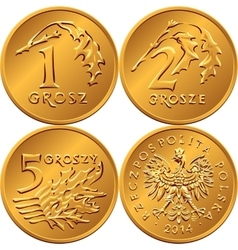 Set Polish Money one two and five groszy coin vector