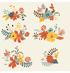 Set six graphic floral design bunch vector