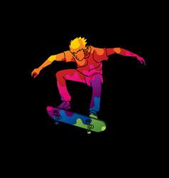 skateboarder jumping vector image